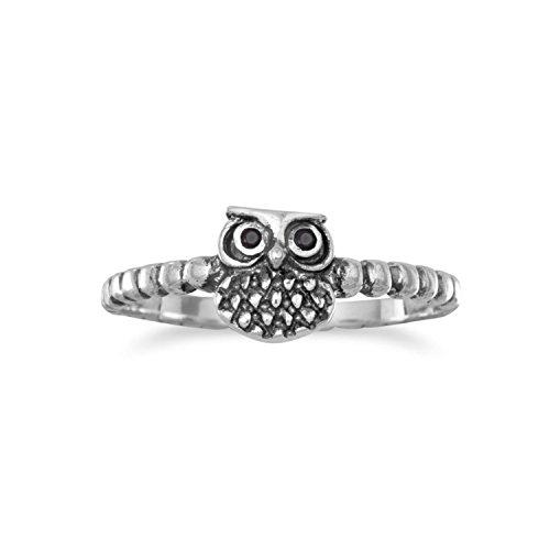 (Cute Owl Ring with Black Cubic Zirconia Eyes Beaded Band Sterling Silver, 8)