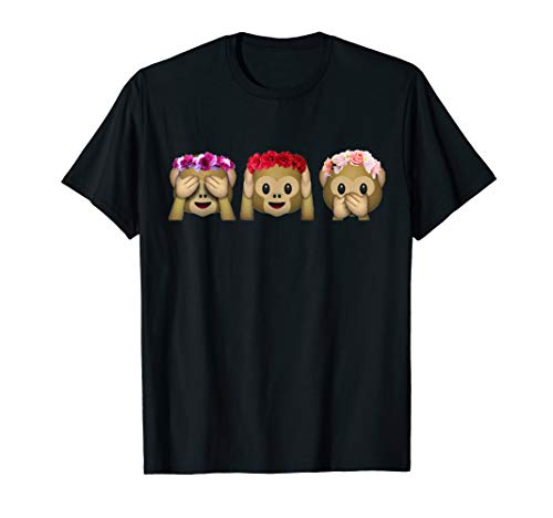 Three Emoji Monkey Shirt Flower Hear Speak See No Evil Shirt