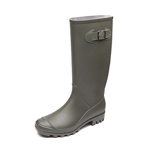 DKSUKO Rain Boots for Women Waterproof Elastic Wellington Boots (5 B (M) US, Amy Green)