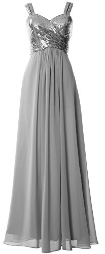 Bridesmaid Women Formal Dress Wedding Straps Grau Cowl Sequin MACloth Long Back Gown AIwOOq