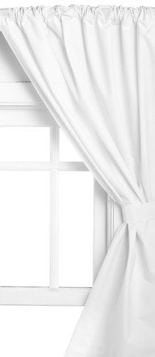 Carnation Home Fashions Vinyl Bathroom Window Curtain, White  Bathroom Window Curtains