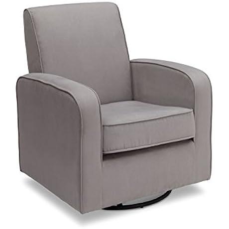 Delta Furniture Chloe Upholstered Glider Swivel Rocker Chair Grey