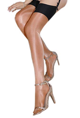 Kffyeye Ultra Thin Sheer Thigh High Rib Tight, Ultra Shimmery Plus Footed 30 Den Top Stockings 0908 (1pcs Gold Coffee) ()