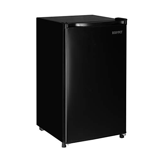Kuppet Mini Fridge Compact Refrigerator for Dorm, Garage, Camper, Basement or Office, Single Door Mini Fridge, 3.2 Cu.Ft, Black