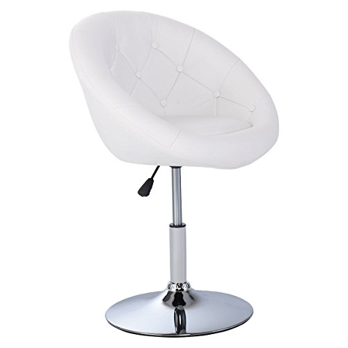 Costway Swivel Accent Chair Tufted Round-Back Tilt Chrome Contemporary Round (White)