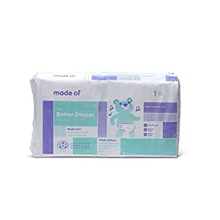 MADE OF Baby Diapers Size 1 - 10 Hour Absorbent Diapers, Diapers Sensitive Skin, Hypoallergenic Diapers, Unscented Diapers, Pediatrician and Dermatologist Tested - 8-14 pounds (44 Count)