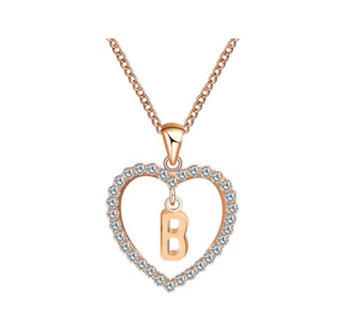 New Simple Chain Stylish Diamond Heart Letter Love Necklace,B (Diamond Letter Love Charm)