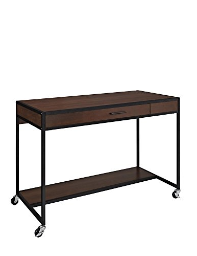 table on wheels. altra mason ridge mobile desk with metal frame, cherry/black table on wheels b