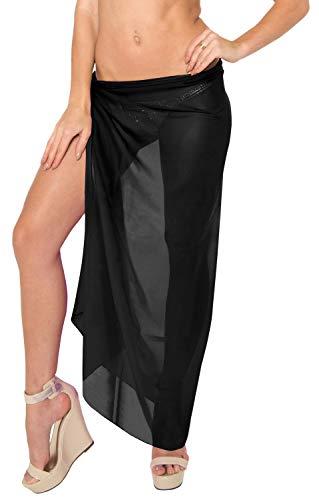 LA LEELA Sheer Chiffon Swimwear Women Wrap Sarong Solid 88''X42'' Black_1821 by LA LEELA