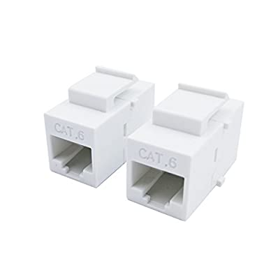 Exuun CAT6 RJ45 Keystone Coupler, (2-Pack) RJ45 Connector CAT6 Female to Female Ethernet Adapter CAT 6/5e/5 Double Jack Ethernet Connector 8P8C Extender Network Cable Inline Modular, White