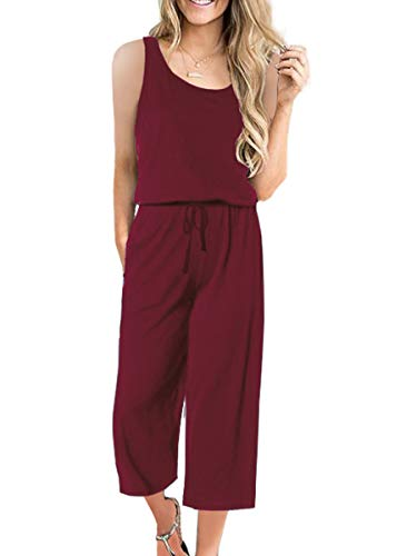 ANRABESS Women's Summer Solid Casual Sleeveless Cropped Pants Rompers Jumpsuits with Pockets A04jiuhong-L WFF23 Wine - Sleeveless Cropped