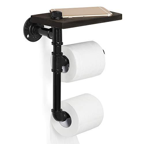 JS NOVA JUNS Industrial Paper Tower Holder, Toilet Roll Holder Wall Mount with Wood Shelf Storage, Black Electroplated Pipe Tissue Holder for Bathroom, Washroom, Double