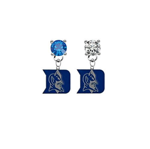 Duke Blue Devils Blue & Clear Crystal Stud Post Dangle Earrings (Watch Devils Duke Womens Blue)