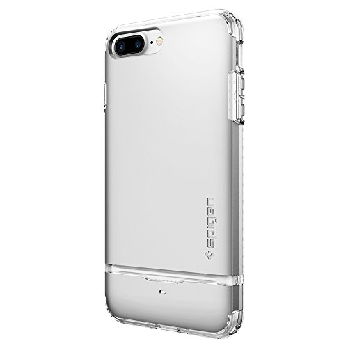 iPhone 7 PLUS Hülle, Spigen® [Flip Armor] Kartenfach [Satin Silber] Doppelte Schutzschicht mit Luftpolster-Kantenschutz - Card Holder Schutzhülle für Apple iPhone 7 PLUS Case Cover - Saint Silver (043