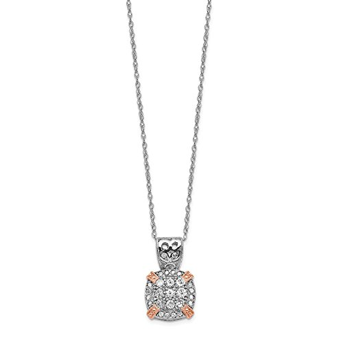 10k Two Tone Yellow Gold Rose White Diamond Chain Necklace Pendant Charm Fine Jewelry Gifts For Women For Her ()