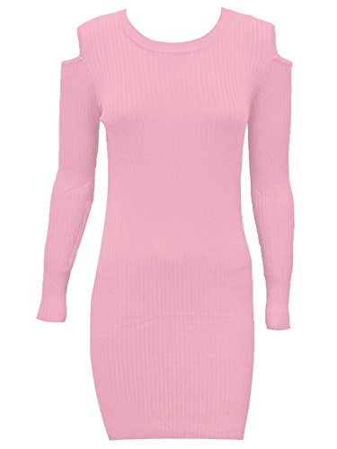 Ribbed Long Out UK Womens Sleeve Top Length Shoulder Bodycon Dress Long 14 Ladies 21FASHION Cut Pink 8 Blush g5pwqH