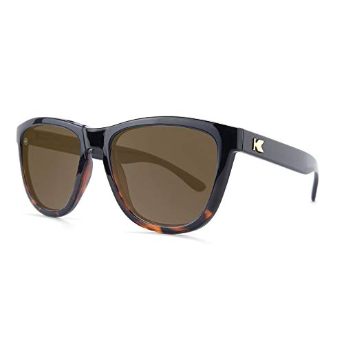 (Knockaround Premiums Polarized Sunglasses With Black And Tortoise Shell Frames/Brown Lenses)
