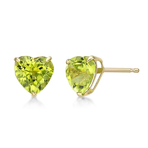 Lavari - 1.50 cttw Heart 6MM Natural Green Peridot 10K Yellow Gold Stud Earrings ()