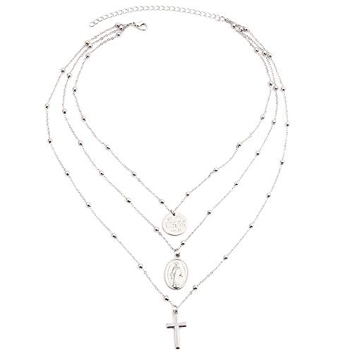 Aegenacess Set of 3 Layer Tripal Layering Y Necklace Cross Circle Blessed Pendant Mary Necklaces Long Multilayer Chain Fashion Jewelry Women Girls Gift for Her (Silver)