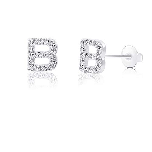 B Initial Letter Earrings for Girls Women Hypoallergenic for Sensitive Ears Nickel Free Tiny Alphabet Stud Earrings 316L Stainless Steel Personalized Monogram Jewelry Silver Bridesmaid Gift