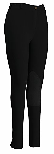 TuffRider Women's Pull-On Knee Patch Breeches, Black, 28