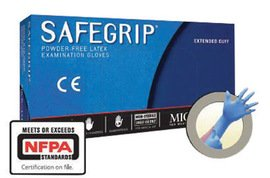 Microflex Large Blue SafeGrip 11.4 mil Latex Medical Grade Powder-Free Disposable Gloves - 1 Case of 10 Boxes - 50 per Box by MICROFLEX CORP
