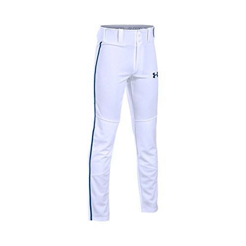 (Boy's Under Armour Boys' Heater Piped Baseball Pants, White (103)/Royal, Youth Small)