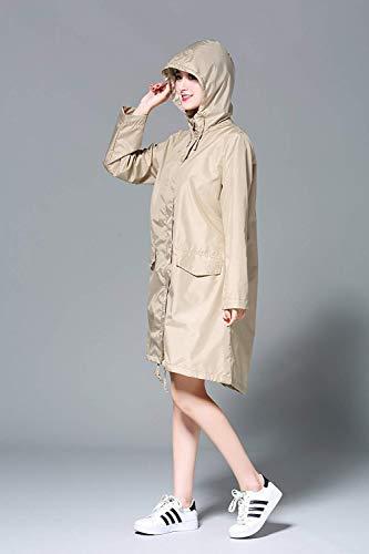 Sólido Las Mujeres Haidean Color De Khaki Modernas Impermeables Casual Chaquetas Chubasquero Impermeable 7xqOWpq8