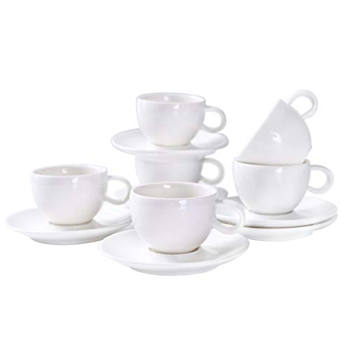YOLIFE Potbellied Espresso Demitasse,White Ceramic Demitasse Cups - 3 OZ Cup - set of 6 with Gift Packaged