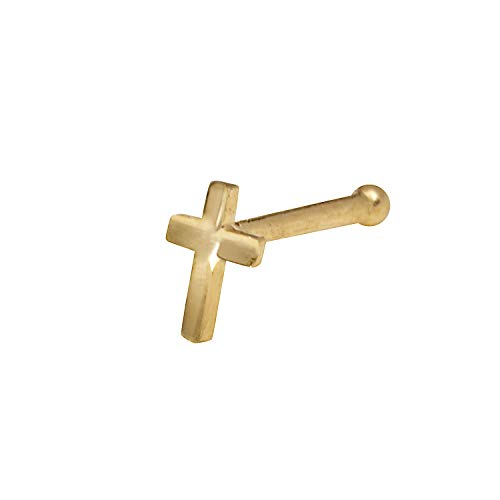 JewelryWeb Solid 14K Yellow or White Gold 2-mm 20 Gauge Polished Beveled Cross Nose Stud (Yellow-Gold)