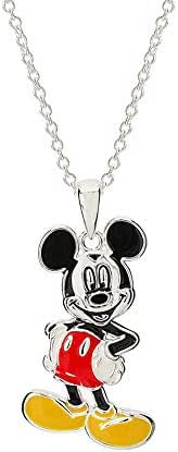 """Disney Mickey Mouse Jewelry for Women and Girls, Silver-Plated Enamel Classic Mickey Mouse Pose Pendant Necklace, 18"""" Chain"""