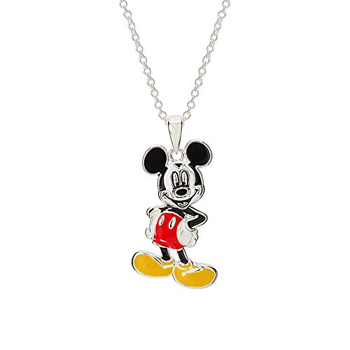 "Disney Mickey Mouse Jewelry for Women and Girls, Silver-Plated Enamel Classic Mickey Mouse Pose Pendant Necklace, 18"" Chain Mickey"