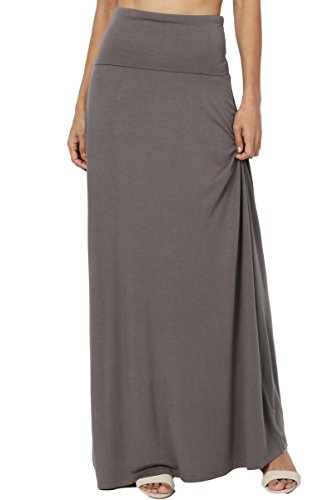 TheMogan Women's Casual Solid Draped Jersey Relaxed Long Maxi Skirt Grey XL (Rayon Jersey Dress Spandex)