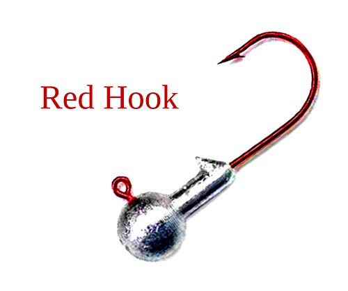 (Unpainted Fishing Lures - Lead Round Ball Head Jigs with Eagle Claw RED, Gold, or Bronze Jig Hooks (3/8 oz Unpainted - Red Hook, 50)