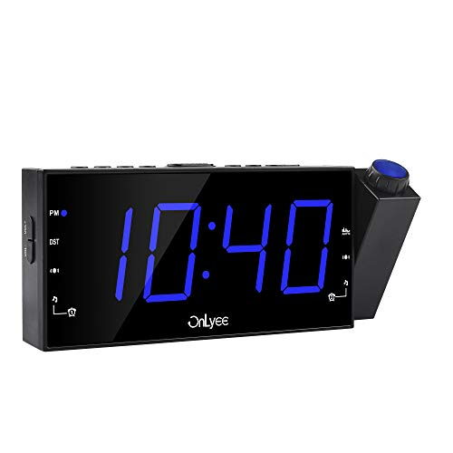 OnLyee Projection Clock Ceiling Display, AM FM Radio Alarm Clock, 7 LED Digital Desk/Shelf Clock with Dimmer, USB Charging, AC Powered and Battery Backup for Bedroom, Kitchen, Kids