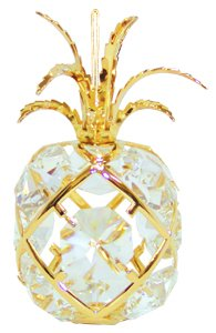 24k Gold Pineapple Ornament with Clear Swarovski Crystal Element -  Crystal Delight by Mascot, H-2848