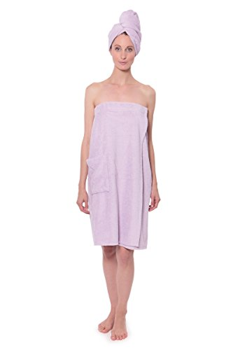 Women's Towel Wrap - Bamboo Viscose Spa Wrap Set by Texere (The Waterfall, Lavender Fog, Large/X-Large) Sweet Gift for Valentine WB0103-LVF-LXL (Body Terry Wrap)