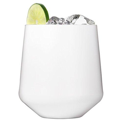(Drinique VIN-SW-WHT-4 Stemless Unbreakable Tritan Wine Glasses, 12 oz (Set of 4), White)
