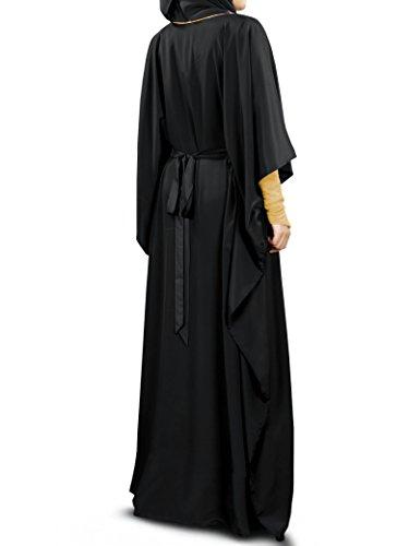 Negro bordado MyBatua Neelam Oro Kaftan Dubai vestido KF-003B