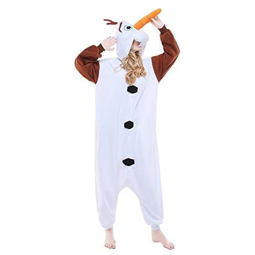 Newcosplay Adult Anime Unisex Pyjamas Halloween Onesie Costume (S, Olaf)]()