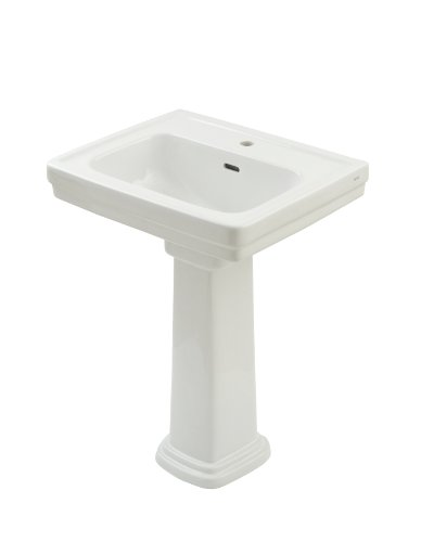 TOTO LPT532N#01 Promenade Lavatory and Pedestal with Single Hole, Cotton White, Deep Bowl