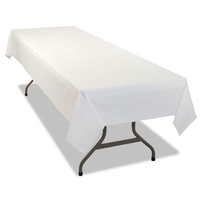 Tablemate - Rectangular Table Cover Heavyweight Plastic 54 X 108 White 6/Pack 4Pk/Ct