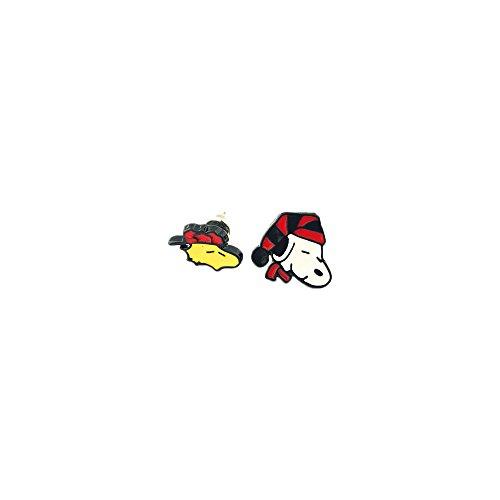 [Charlie Brown Snoopy & Woodstock Silver Tone Cartoon Comic Logo Post Earrings w/Gift Box by Superheroes Brand] (Charlie Brown Christmas Costumes)