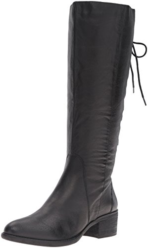 Steve Madden Women's Laceupp Western Boot, Black Leather, 7.5 M US Image