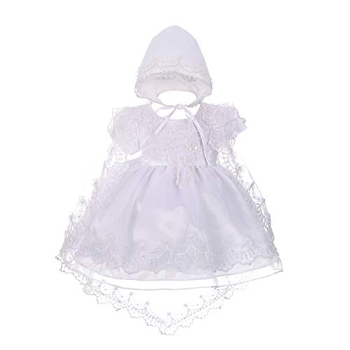 Dressy Daisy Baby Girls' Beaded Scalloped Embroideries Baptism Christening Gown Dress with Cape and Bonnet Infant Size 9-12 Months White