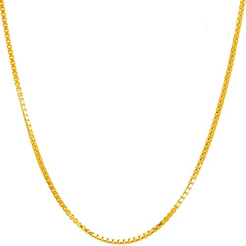 14K Solid Yellow Gold 1.2MM Italian Diamond Cut Box Chain Necklace with Lobster Claw Clasp - FREE Extra 925 Extension (1.2 MM 14K Yellow Gold 18