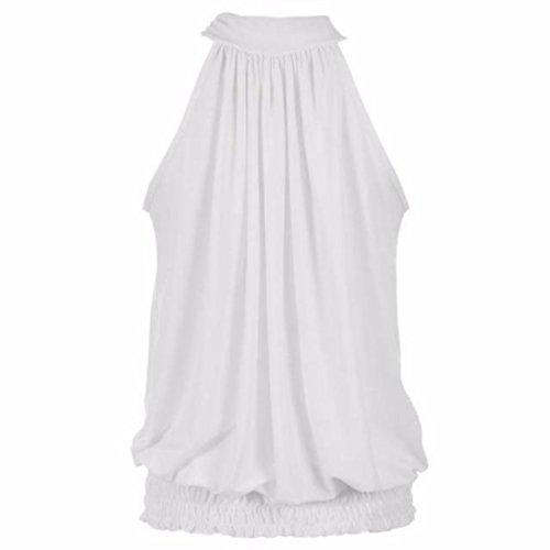 Wensltd Sexy Women OL Style Classy Shirring Sling Sexy T-shirt Blouse Top (XL, White)
