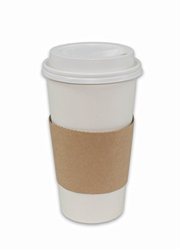 CucinaPrime 100 Pack Paper Coffee Hot Cups WHITE with Travel Lids and Sleeves - 20OZ