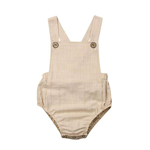 Baby Romper Solid Stripe Onesies Bodysuits Toddler Kids Girls Boys Sveless Jumpsuit Sunsuit Clothes 3M-3Y Beige