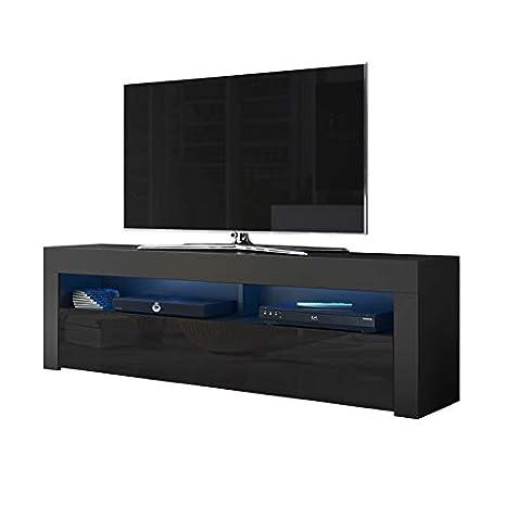 Alan - Mobile porta TV/Supporto TV/Mobile TV audio e video (160 cm, nero  opaco/pannelli frontali nero lucido con luci LED blu opzionali)